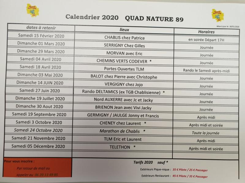 CALENDRIER DES RANDONEES QUAD NATURE 89
